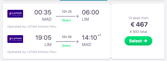 DIRECT flights from Madrid, Spain to Lima, Peru