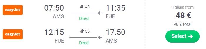 cheap flights amsterdam fuerteventura