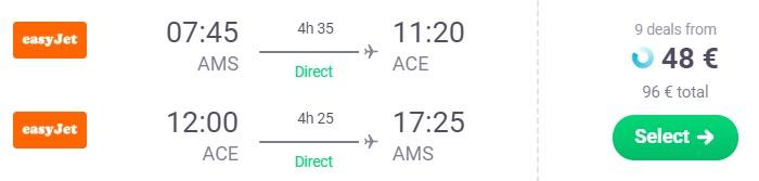 cheap flights amsterdam lanzarote