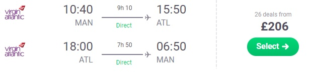 cheap flights from manchester to atlanta