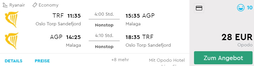 cheap flights from oslo to MALAGA