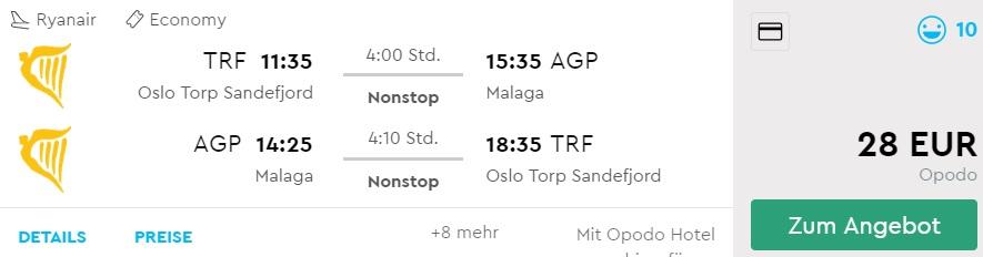 cheap flights from oslo to MALAGA