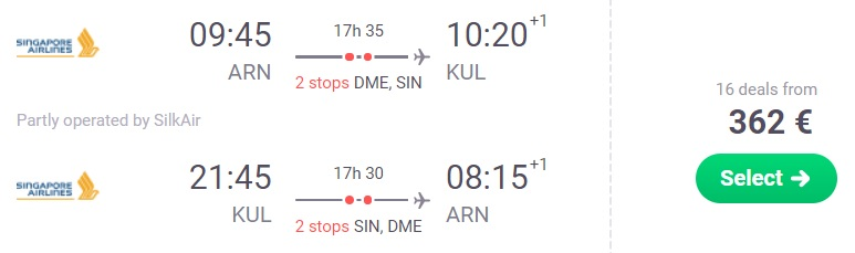 cheap flights stockholm malaysia