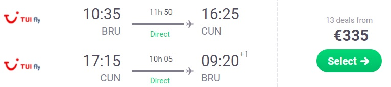 direct flights brussels cancun