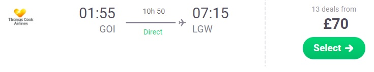 flight from GOA india to London UK