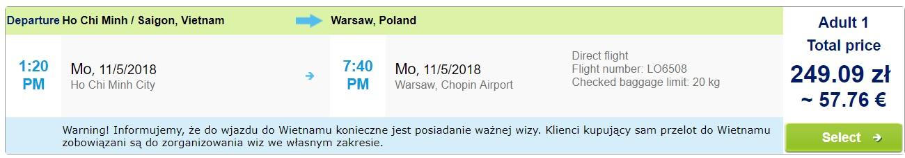 flights from Vietnam to WARSAW