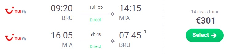 non stop flights brussels miami florida usa