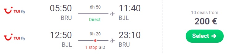 CHEAP LAST MINUTE flights from Brussels to GAMBIA