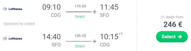 Cheap NON STOP flights from Paris to SAN FRANCISCO