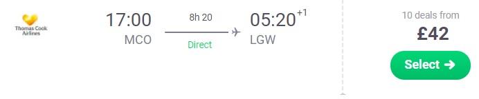 Cheap direct flights from Orlando USA to London UK