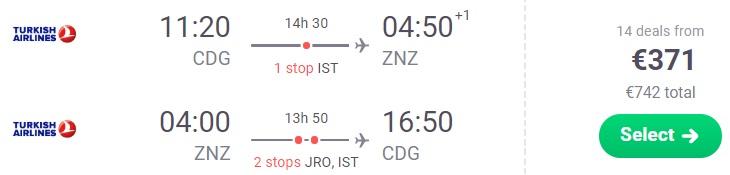 Cheap flights from Paris to ZANZIBAR