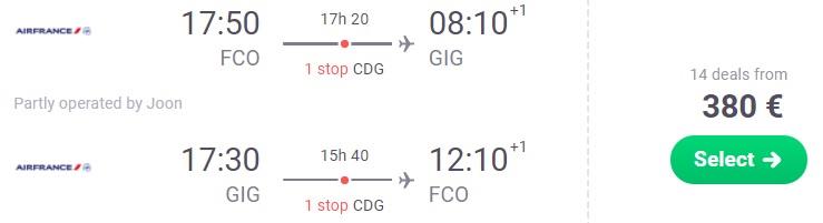 Cheap flights from Rome to Rio De Janeiro BRAZIL
