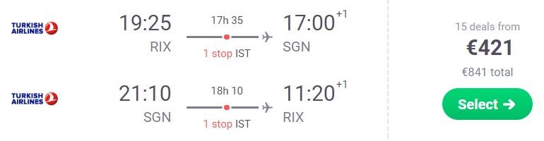 Cheap flights to VIETNAM from Riga