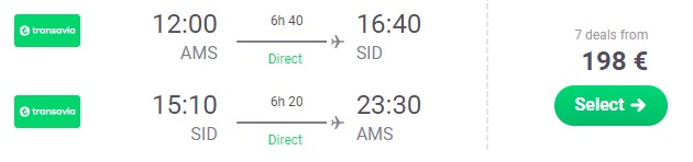 Direct flights from Amsterdam to CAPE VERDE
