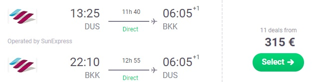 Direct flights from Dusseldorf to Bangkok Thailand