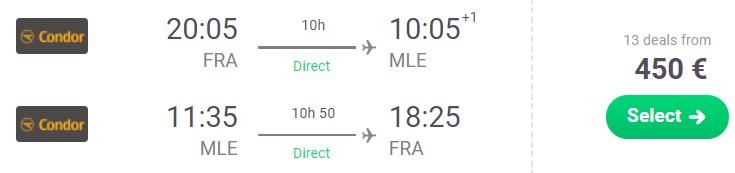 Direct flights from Frankfurt to MALDIVES