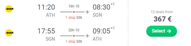 Flights from Athens Greece to VIETNAM