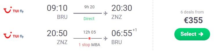 Flights from Brussels to ZANZIBAR
