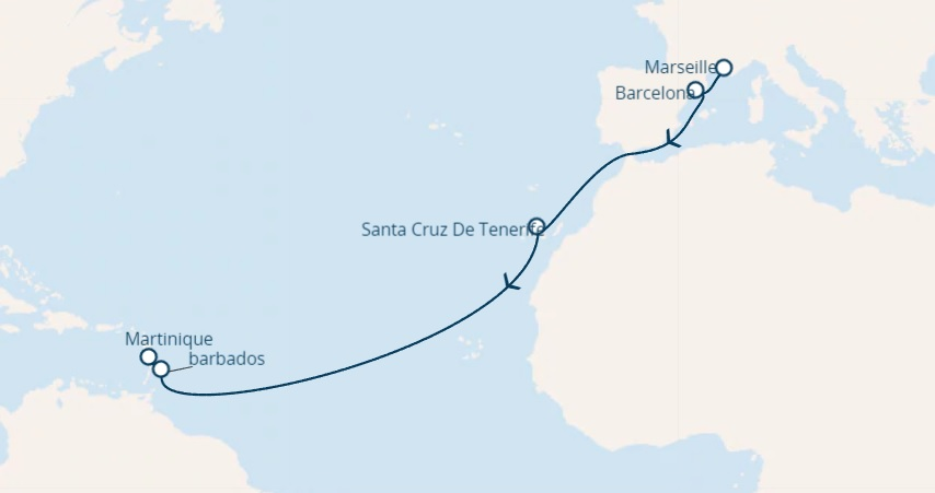 Full Board cruise from France to Caribbean Sea