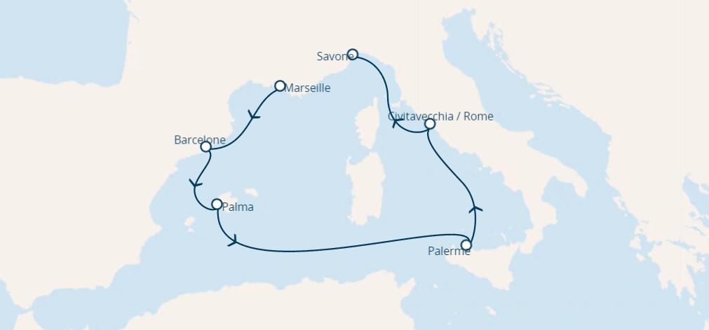 Full Board cruise from Marseille france around Mediterranean
