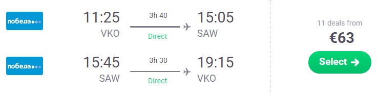 LAST MINUTE XMAS flights from Moscow to ISTANBUL