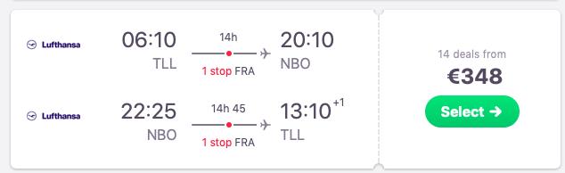 Flights Tallinn to Nairobi