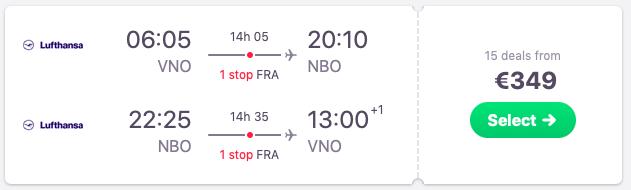 Flights Vilnius to Nairobi