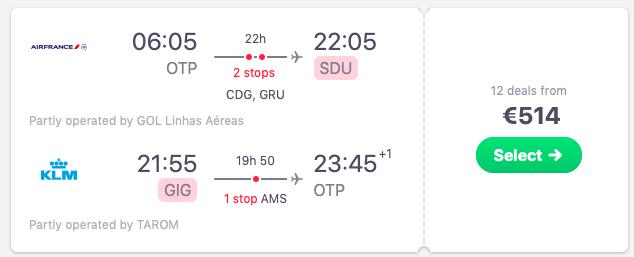 Flights from Bucharest, Romania to Rio de Janeiro, Brazil