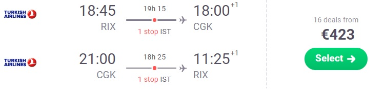 Turkish Airlines Cheap flights from Riga to Jakarta INDONESIA