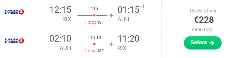 XMAS Cheap flights to ABU DHABI from Riga Latvia Turkish Airlines
