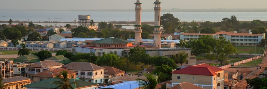 Aerial panorama view to city of Banjul and Gambia river