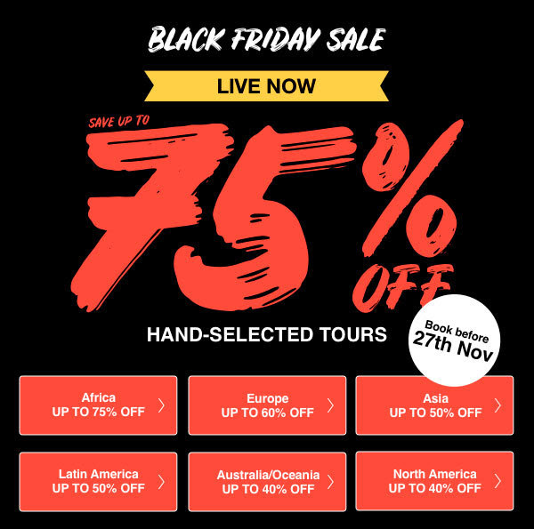 tourradar black friday sale 2018 up to 75 off travelfree. Black Bedroom Furniture Sets. Home Design Ideas