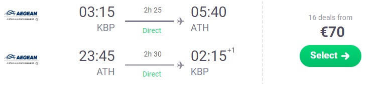 Cheap Non-Stop flights from Kyiv to ATHENS