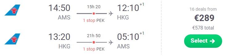 Cheap flights from Amsterdam to HONG KONG