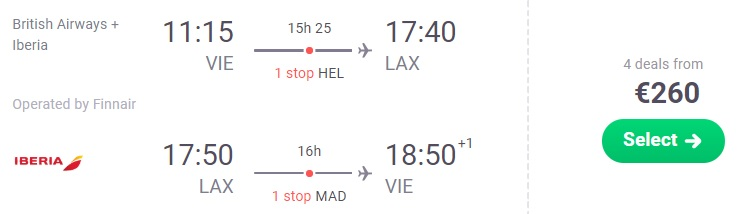 Cheap flights from Vienna to LOS ANGELES
