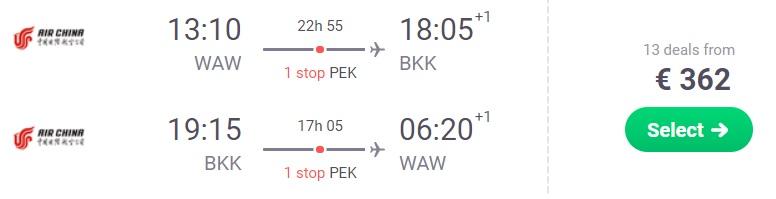 Cheap flights from Warsaw to BANGKOK Thailand