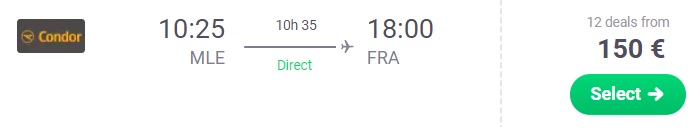 Direct flight to FRANKFURT from MALDIVES
