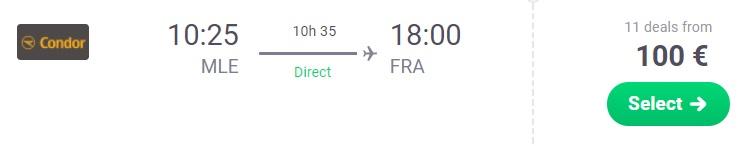 Direct flights to FRANKFURT from MALDIVES