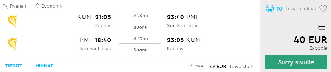 Flight tickets to PALMA MALLORCA from Kaunas Lithuania