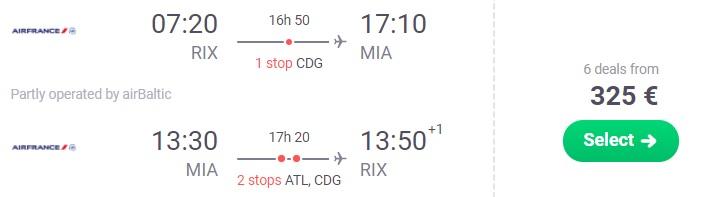 Flights from Riga Latvia to MIAMI