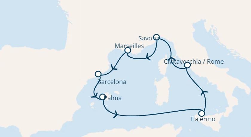 Full Board cruise from Barcelona around Mediterranean sea
