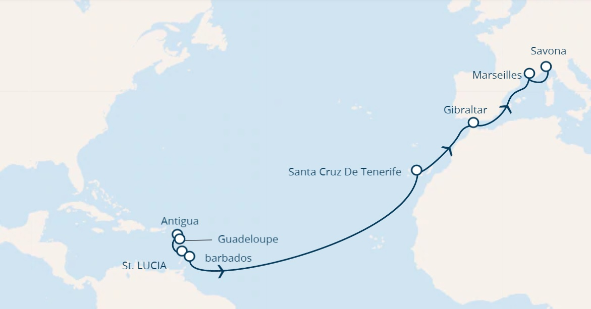 Full Board cruise from Caribbean Islands to savona Italy