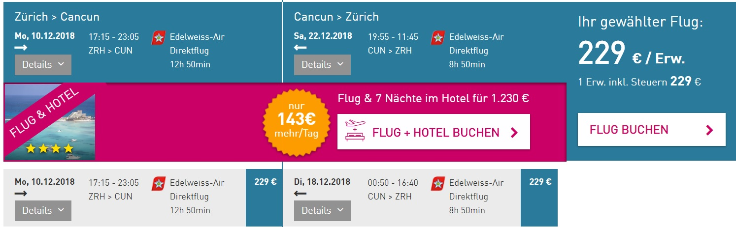Last minute flight from Zurich to CANCUN