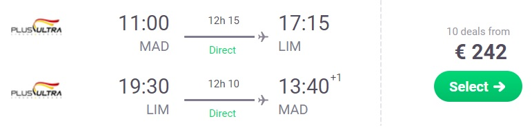 NON STOP flights from Madrid to Peru Lima