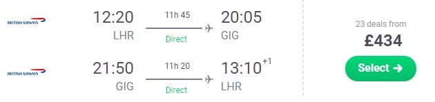 Non-Stop flights from London to Rio de Janeiro Brazil