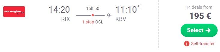 One way flights to KRABI THAILAND from the Baltics