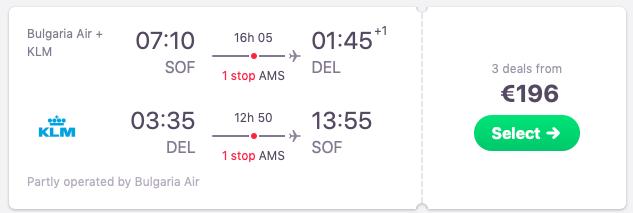 Flights from Sofia, Bulgaria to New Delhi, India