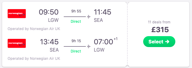 DIRECT flights from London to Seattle