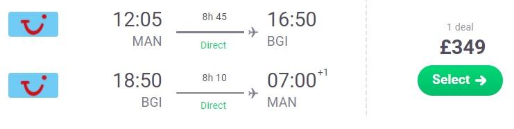 XMAS New Year Cheap flights Manchester BARBADOS