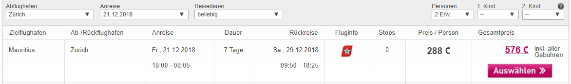 XMAS flights to MAURITIUS from Zurich Switzerland